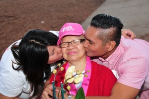 Cely Arroyo's kids with her at the Race for the Cure