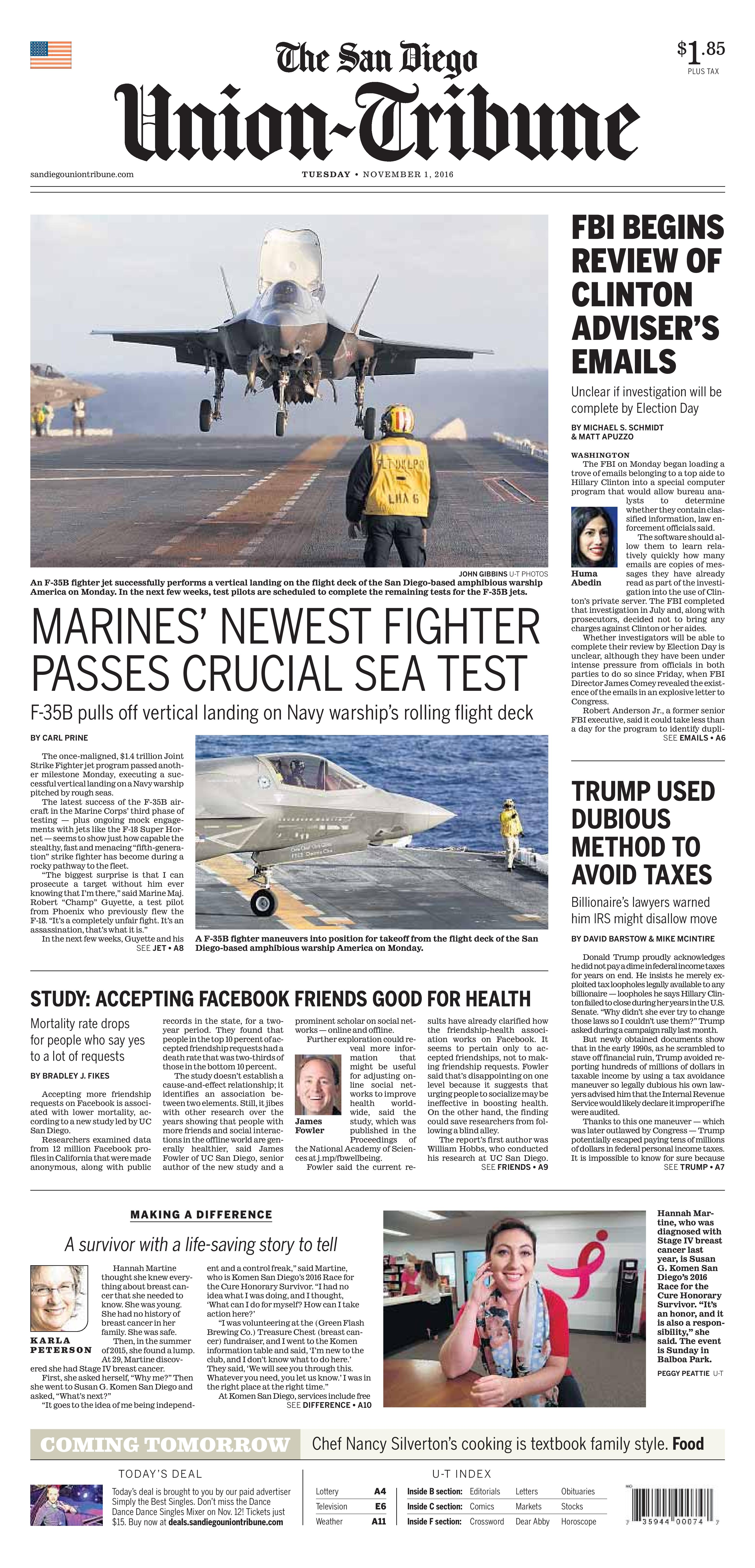 komen-san-diego_san-diego-union-tribune_front-page_race-for-the-cure_hannah-martine-page-001